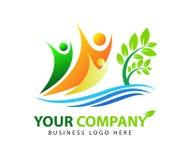 Planta, gente, agua, natural, logotipo, salud, sol, hoja, botánica, ecología, vector del diseño de sistema del icono del símbolo libre illustration
