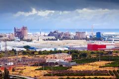 Planta industrial. Puerto de Sagunto Imágenes de archivo libres de regalías