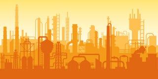 Planta industrial, silhueta da fábrica, exterior da cena da empresa, refinaria de petróleo ilustração royalty free