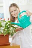 Planta molhando de mulher nova imagens de stock