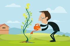 Planta molhando do dólar do homem de negócios Fotos de Stock Royalty Free
