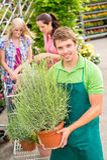 Planta potted da preensão do trabalhador do centro de jardim imagem de stock royalty free