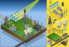 Planta solar do termo isométrico Fotografia de Stock Royalty Free