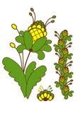 Planta verde con las flores amarillas Vector Imagenes de archivo