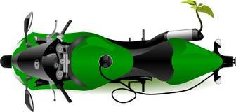 Planta verde que cresce da tubulação de exaustão da motocicleta ilustração do vetor