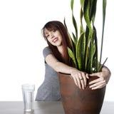 Planta verde sonriente del abarcamiento de la mujer joven en un pote Imágenes de archivo libres de regalías