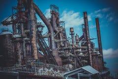 Planta vieja de Bethlehem Steel de la planta siderúrgica Imagen de archivo