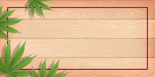 Planta y cáñamo de marijuana en el piso de madera imagen de archivo libre de regalías