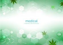Planta y cáñamo de marijuana en fondos verdes libre illustration