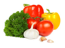 Plantaardig - tomaat, peper, knoflook stock fotografie