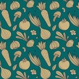Plantaardig vector naadloos patroon met paddestoel, wortel, tomaat, knoflook, ui enz. De eindeloze achtergrond van de de zomeroog royalty-vrije illustratie