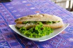 Plantaardige Baguette sandwish Stock Afbeeldingen