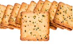 Plantaardige die crackers op wit worden geïsoleerd Royalty-vrije Stock Foto