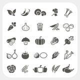 Plantaardige geplaatste pictogrammen Stock Foto's
