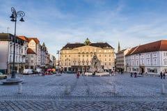 Plantaardige Markt en fontein-Brno, Tsjechische Republiek royalty-vrije stock afbeeldingen