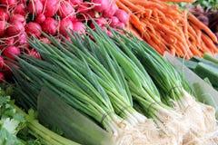 Plantaardige markttribune Stock Foto