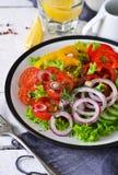 Plantaardige mengelingssalade met avocado en olijfoliesaus Stock Afbeeldingen