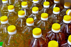 Plantaardige olieflessen Stock Foto