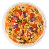 Plantaardige pizza vanaf de bovenkant Stock Foto