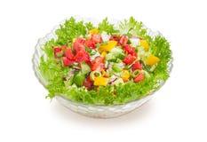 Plantaardige salade in de kom van de glassalade Stock Foto's