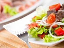 Plantaardige salade met de schotel van het rundvleesvlees Royalty-vrije Stock Afbeeldingen