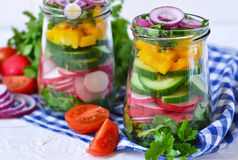 Plantaardige salade met spinazie en rode uien Royalty-vrije Stock Afbeeldingen