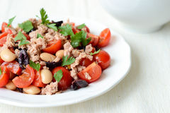 Plantaardige salade met tonijn stock fotografie
