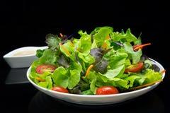 Plantaardige salade met zwarte achtergrond Stock Fotografie