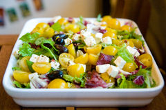 Plantaardige salade op witte vierkante plaat Royalty-vrije Stock Foto
