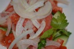 Plantaardige salade, zoete salade, salade met olie, plantaardige salade, sappige ui, sappige salade, salade op een plaat, groene  stock afbeeldingen