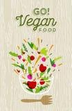 Plantaardige saladevoorbereiding met het etiket van het veganistvoedsel Royalty-vrije Stock Afbeeldingen