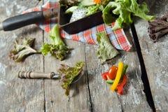 Plantaardige saladevoorbereiding op houten raadsachtergrond Stock Afbeeldingen