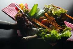 Plantaardige saladevoorbereiding op zwarte achtergrond Stock Foto