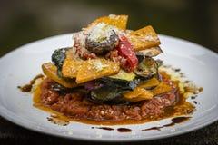 Plantaardige stapel - pompoen, courgette, rood die capsicum, aubergine en paddestoel in een tomaat, een ui, en een knoflooksaus w stock fotografie