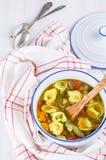 Plantaardige Tortellini-Soep Royalty-vrije Stock Fotografie