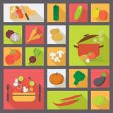Plantaardige vectorpictogrammen, voedsel dat voor het koken wordt geplaatst, Stock Afbeeldingen