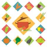 Plantaardige vectorvoedselpictogrammen Royalty-vrije Stock Foto's