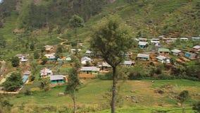 Plantaciones de té y un pequeño pueblo almacen de metraje de vídeo