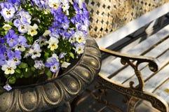 Plantador com pansies e banco fotografia de stock