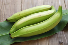 Plantain banana. On wooden background Royalty Free Stock Photography