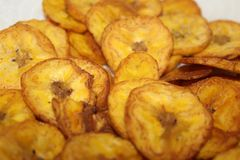 Plantain Chips. Some plantain chips with salt Stock Photography