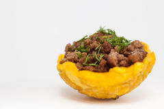 Plantain cup filled with ground beef Royalty Free Stock Images