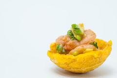 Plantain cup filled with shrimp ceviche. On white background Stock Image