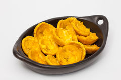 Plantain cups on black ceramic dish Stock Photo