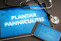 Plantar panniculitis (cutaneous disease) diagnosis medical conce. Pt on tablet screen with stethoscope Royalty Free Stock Photos