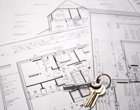 Plantas arquitectónicas com chaves Imagem de Stock