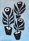 Plantas artísticas en crisoles stock de ilustración