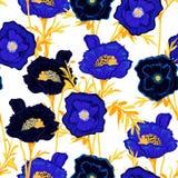 Plantas botânicas de florescência Seamles do teste padrão floral do azul monótonos ilustração royalty free
