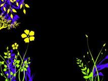Plantas brilhantemente coloridas da flor da folha na noite ilustração royalty free
