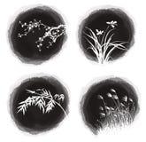 Plantas da gota da tinta ilustração do vetor